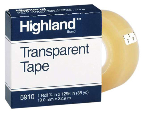 "3M Highland Transparent Tape 3/4"" x 36 yards <BR> 1"" Core"